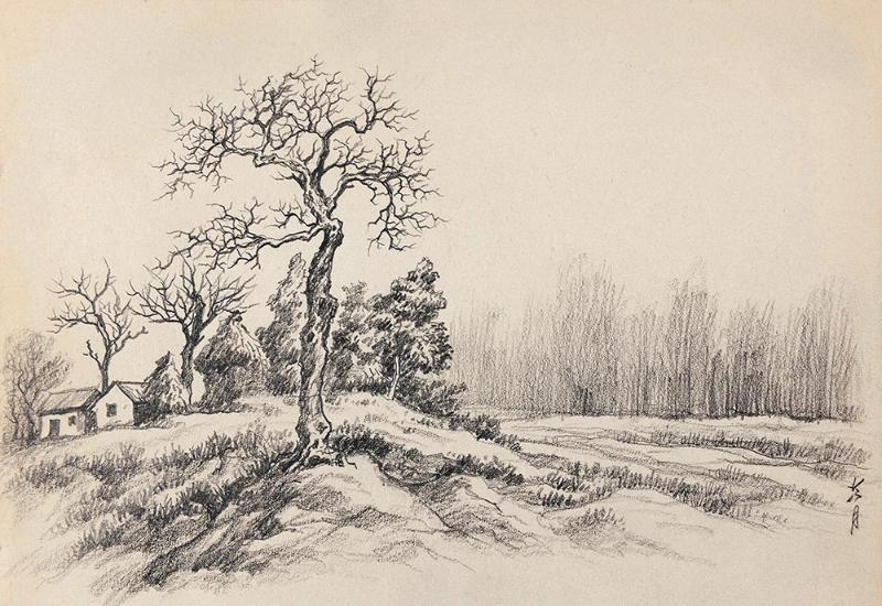 陶冷月(1895-1985) 素描风景