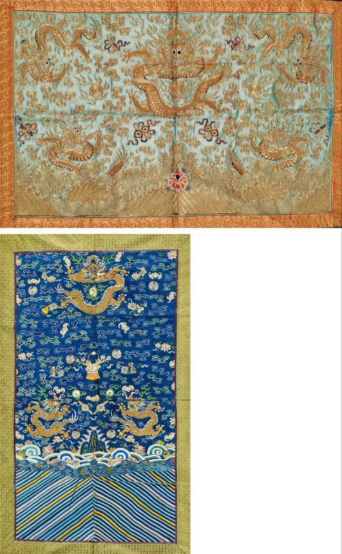 清中期 浅绿地金线龙纹八宝绣片,蓝地龙纹团鹤挂帐共两件