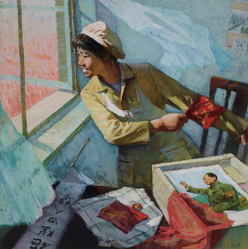 中国油画及雕塑  lot  0058 汤沐黎 女民兵写生 估价rmb 10万-20万