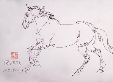 马雕塑手绘效果图