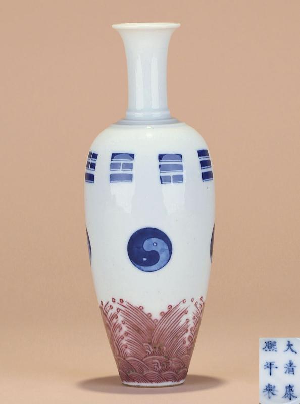 清 青花釉里红八卦海水柳叶瓶图片