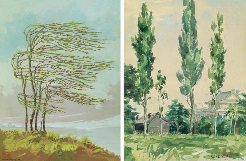黄觉寺 有树的风景 风中的柳树 (二件一组)