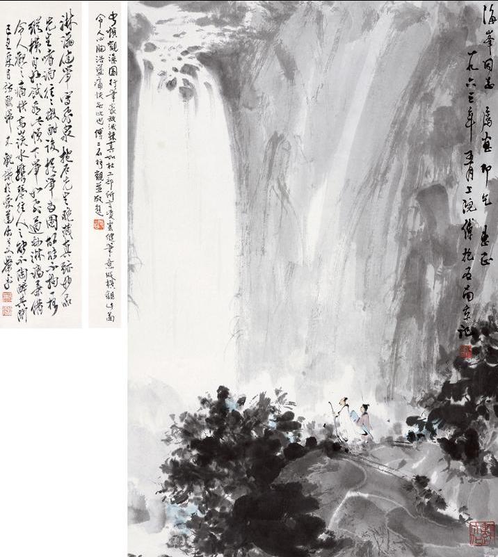 都以松树为题材,关山月八十年代前后创作的松树,笔墨雄浑,苍劲有力,把